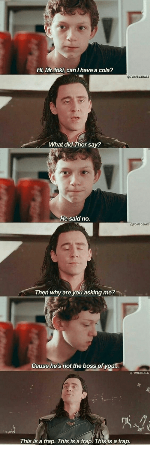 A Trap: Hi, Mr loki, can I have a cola?  @TOMSCENES  What did Thor say?  He said no.  @TOMSCENES  Then why are you asking me?  Cause he's not the boss of you...  @TOMSCENES  This is a trap. This is a trap. This is a trap.