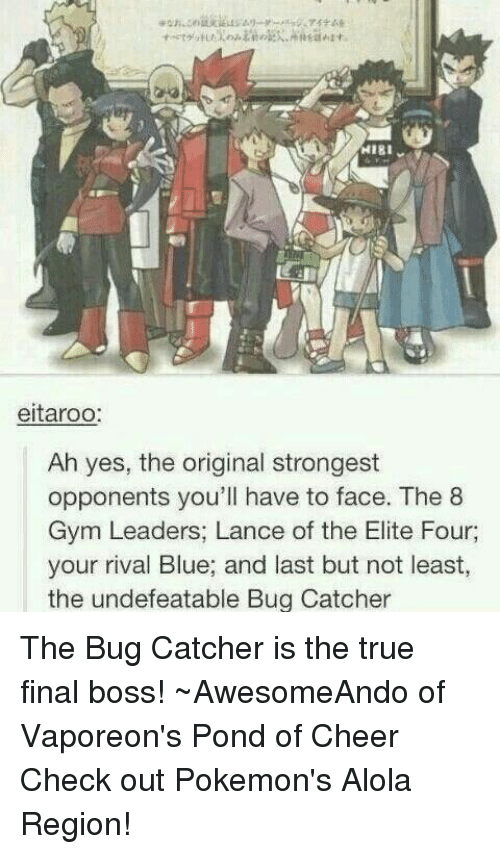 Final Boss, Gym, and Memes: HIBI  eitaroo:  Ah yes, the original strongest  opponents you'll have to face. The 8  Gym Leaders, Lance of the Elite Four,  your rival Blue, and last but not least,  the undefeatable Bug Catcher The Bug Catcher is the true final boss! ~AwesomeAndo of Vaporeon's Pond of Cheer  Check out Pokemon's Alola Region!