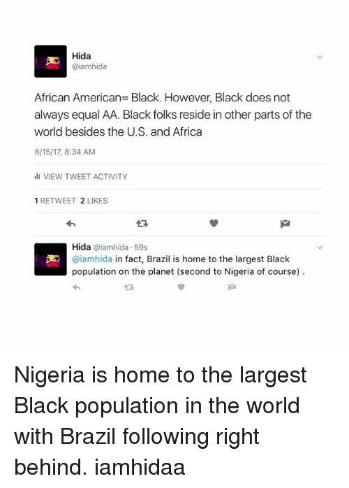 reside: Hida  @iamhida  African American Black. However, Black does not  always equal AA. Black folks reside in other parts of the  world besides the U.S. and Africa  6/15/17, 8:34 AM  ill VIEW TWEET ACTIVITY  1 RETWEET 2 LIKES  Hida  aiamhida 59s  3E @iamhida in fact, Brazil is home to the largest Black  population on the planet (second to Nigeria of course) Nigeria is home to the largest Black population in the world with Brazil following right behind. iamhidaa