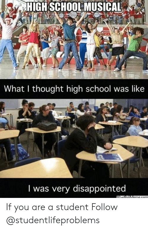 What I Thought: HIGH SCHOOL MUSICAL  What I thought high school was like  I was very disappointed If you are a student Follow @studentlifeproblems