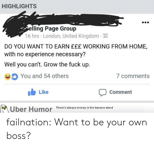 working from home: HIGHLIGHTS  lling Page Group  16 hrs London, United Kingdom  DO YOU WANT TO EARN EEE WORKING FROM HOME,  with no experience necessary?  Well you can't. Grow the fuck up  You and 54 others  b Like  7 comments  Comment  Uber Humor  There's always money in the banana stand failnation:  Want to be your own boss?