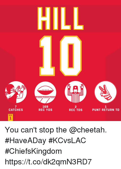 Memes, Cheetah, and 🤖: HILL  169  REC YDSs  7  2  REC TDS  CATCHES  PUNT RETURN TD  WK  1 You can't stop the @cheetah. #HaveADay  #KCvsLAC #ChiefsKingdom https://t.co/dk2qmN3RD7