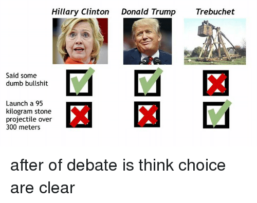 Donald Trump, Dumb, and Hillary Clinton: Hillary Clinton  Donald Trump  Trebuchet  Said some  dumb bullshit  Launch a 95  kilogram stone  projectile over  300 meters after of debate is think choice are clear