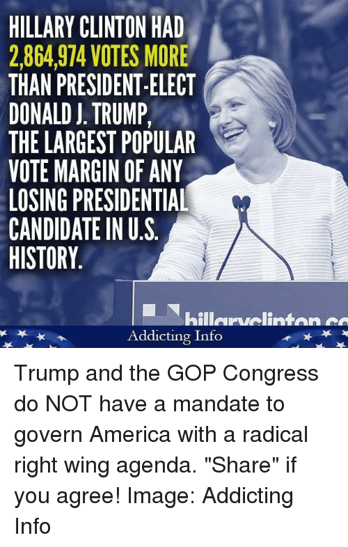 """Marginalize: HILLARY CLINTON HAD  2,864,974 VOTES MORE  THAN PRESIDENT-ELECT  DONALD J. TRUMP,  THE LARGEST POPULAR  VOTE MARGIN OF ANY  LOSING PRESIDENTIAL  CANDIDATE IN U.S  HISTORY  hillervelinten  Addicting Info Trump and the GOP Congress do NOT have a mandate to govern America with a radical right wing agenda. """"Share"""" if you agree!   Image: Addicting Info"""