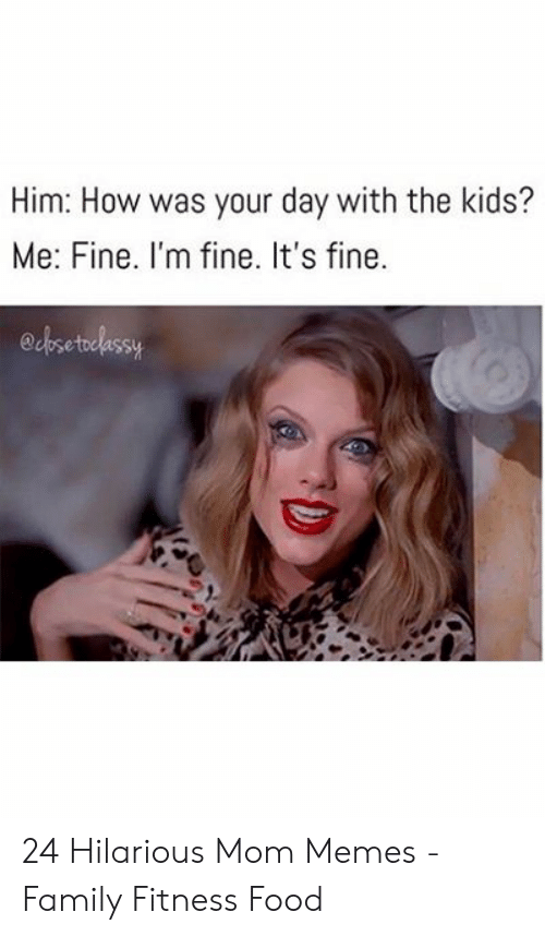 Bad Mom Meme: Him: How was your day with the kids?  Me: Fine. I'm fine. It's fine.  edbsetelessy 24 Hilarious Mom Memes - Family Fitness Food
