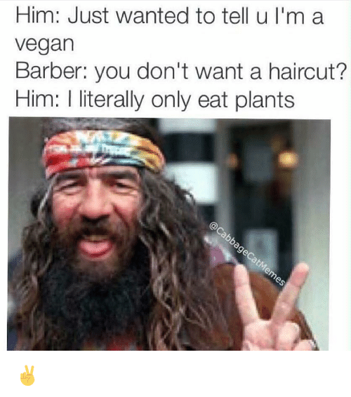 Im A Vegan: Him: Just wanted to tell u I'm a  vegan  Barber: you don't want a haircut?  Him: I literally only eat plants ✌️