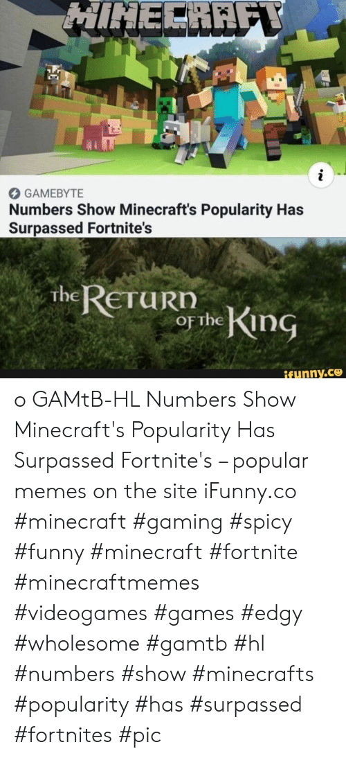 funny minecraft: HINECRAFY  i  GAMEBYTE  Numbers Show Minecraft's Popularity Has  Surpassed Fortnite's  The RETURN  OF the King  ifunny.co o GAMtB-HL Numbers Show Minecraft's Popularity Has Surpassed Fortnite's – popular memes on the site iFunny.co #minecraft #gaming #spicy #funny #minecraft #fortnite #minecraftmemes #videogames #games #edgy #wholesome #gamtb #hl #numbers #show #minecrafts #popularity #has #surpassed #fortnites #pic