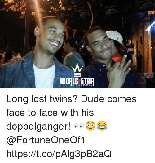 doppelganger: HIP HOP. CO M Long lost twins? Dude comes face to face with his doppelganger! 👀😳😂 @FortuneOneOf1 https://t.co/pAlg3pB2aQ