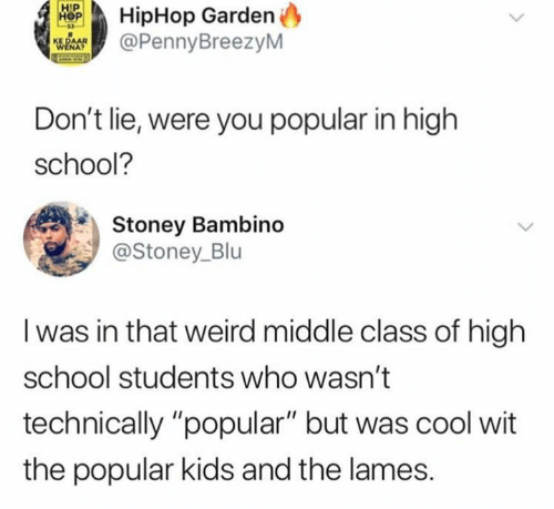 """high-school-students: HipHop Garden  @PennyBreezyM  Don't lie, were you popular in high  school?  Stoney Bambino  @Stoney_Blu  I was in that weird middle class of high  school students who wasn't  technically """"popular"""" but was cool wit  the popular kids and the lames."""