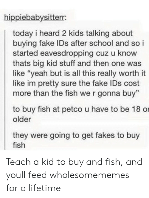 "Fake, School, and Yeah: hippiebabysitterr:  today i heard 2 kids talking about  buying fake IDs after school and so i  started eavesdropping cuz u know  thats big kid stuff and then one was  like ""yeah but is all this really worth it  like im pretty sure the fake IDs cost  more than the fish we r gonna buy""  to buy fish at petco u have to be 18 o  older  they were going to get fakes to buy  fish Teach a kid to buy and fish, and youll feed wholesomememes for a lifetime"