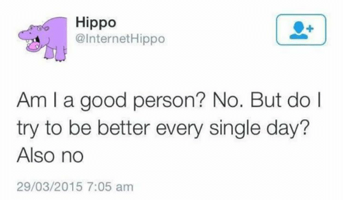 Hippoe: Hippo  @Internet Hippo  Am I a good person? No. But do l  try to be better every single day?  Also no  29/03/2015 7:05 am
