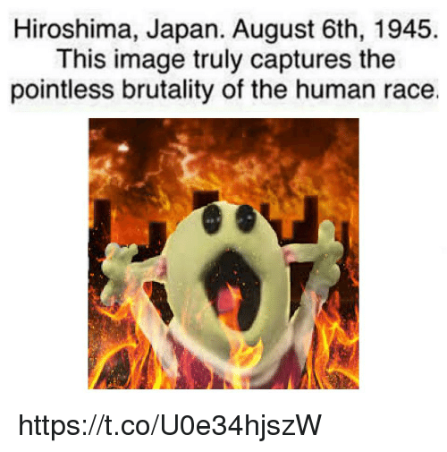brutality: Hiroshima, Japan. August 6th, 1945  This image truly captures the  pointless brutality of the human race. https://t.co/U0e34hjszW