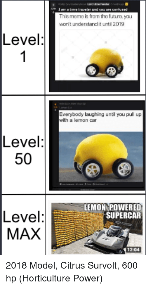 Future, Power, and Car: his mame is from the future, you  won't understand it until 2019  Level  Everybody laughing until you pull up  with a lemon car  Level  50  LEMON POWERED  SUPERCAR  Level  MAX  12:04