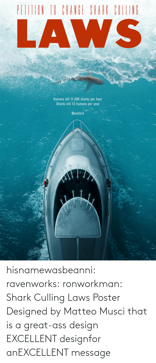 Excellent: hisnamewasbeanni: ravenworks:  ronworkman:  Shark Culling Laws Poster Designed by Matteo Musci    that is a great-ass design  EXCELLENT designfor anEXCELLENT message