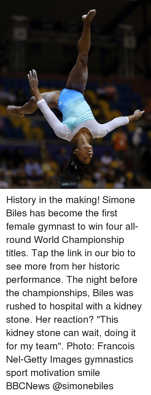 "Memes, Getty Images, and Gymnastics: History in the making! Simone Biles has become the first female gymnast to win four all-round World Championship titles. Tap the link in our bio to see more from her historic performance. The night before the championships, Biles was rushed to hospital with a kidney stone. Her reaction? ""This kidney stone can wait, doing it for my team"". Photo: Francois Nel-Getty Images gymnastics sport motivation smile BBCNews @simonebiles"