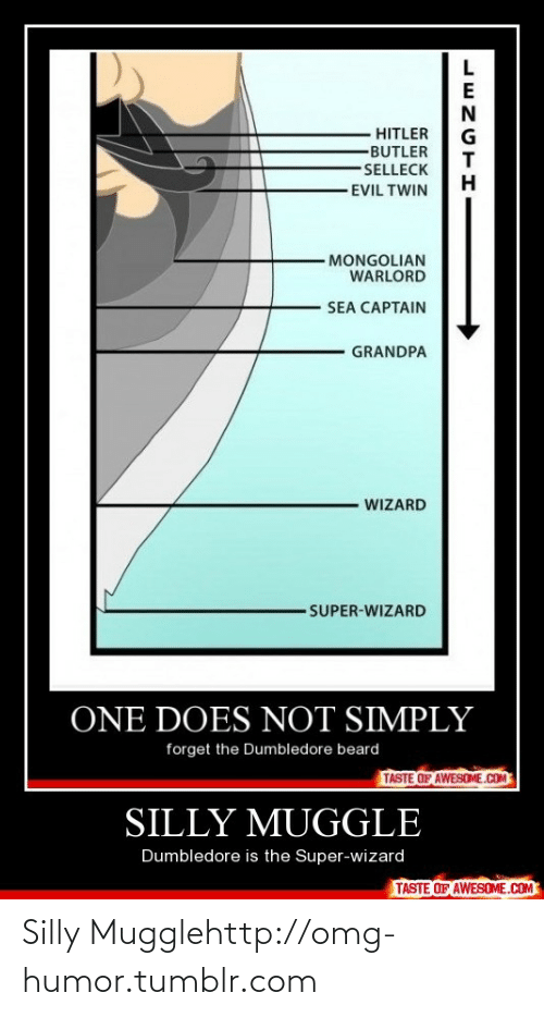 Evil Twin: HITLER  -BUTLER  -SELLECK  -EVIL TWIN  MONGOLIAN  WARLORD  SEA CAPTAIN  GRANDPA  WIZARD  SUPER-WIZARD  ONE DOES NOT SIMPLY  forget the Dumbledore beard  TASTE OF AWESOME.COM  SILLY MUGGLE  Dumbledore is the Super-wizard  TASTE OF AWESOME.COM  LENGTH Silly Mugglehttp://omg-humor.tumblr.com