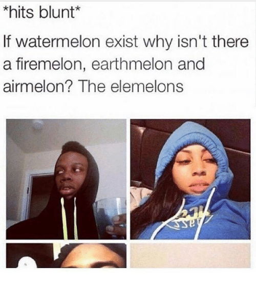 The Elemelons: *hits blunt  If watermelon exist why isn't there  a firemelon, earthmelon and  airmel on? The elemelons