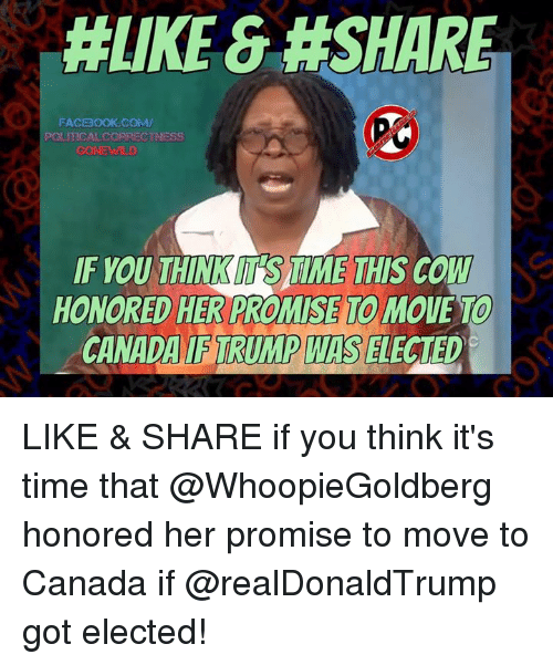 Move To Canada: HLIKE &#SHARE  FACBOOK COMM/  POLITICAL CORRECTNESS  IF YOU THINKM SAIME THIS COW  HONORED HER PROMISE MOUE TO  CANADA TRUMP WIS  ELECTED LIKE & SHARE if you think it's time that @WhoopieGoldberg honored her promise to move to Canada if @realDonaldTrump got elected!
