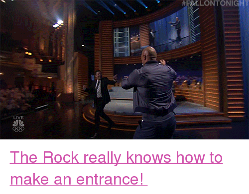 "Justin TImberlake: HLLONTONIGHT  LIVE <p><a href=""https://www.nbc.com/the-tonight-show/video/justin-timberlake-dwayne-johnson-this-is-us-cast/3661002"" target=""_blank"">The Rock really knows how to make an entrance! </a></p>"