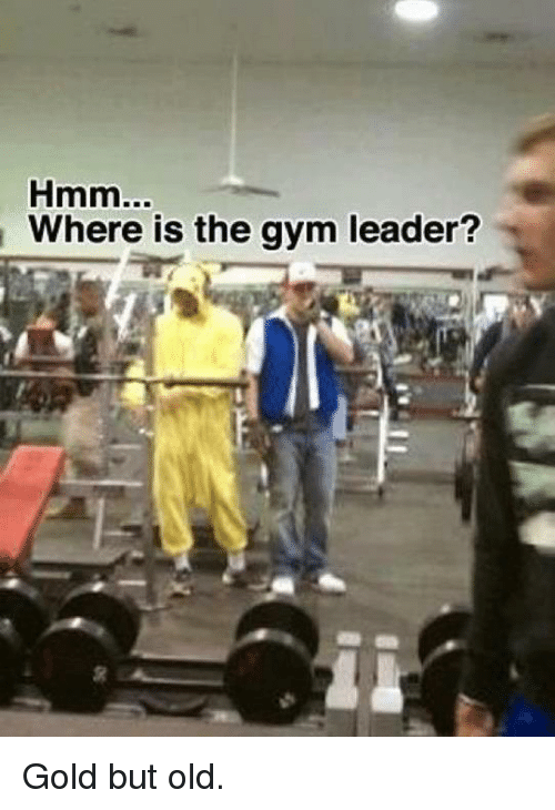 Gym, Dank Memes, and Old: Hmm  Where is the gym leader? Gold but old.