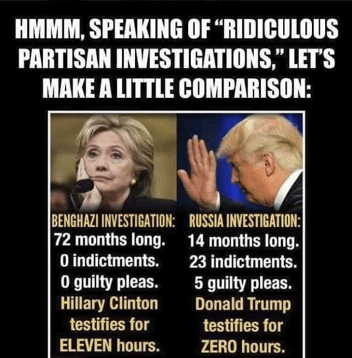 "Donald Trump, Hillary Clinton, and Zero: HMMM, SPEAKING OF ""RIDICULOUS  PARTISAN INVESTIGATIONS,"" LET'S  MAKE A LITTLE COMPARISON:  BENGHAZI INVESTIGATION: RUSSIA INVESTIGATION:  72 months long. 14 months long.  0 indictments. 23 indictments.  0 guilty pleas. 5 guilty pleas.  Hillary Clinton Donald Trump  testifies for  ELEVEN hours.  testifies for  ZERO hours."