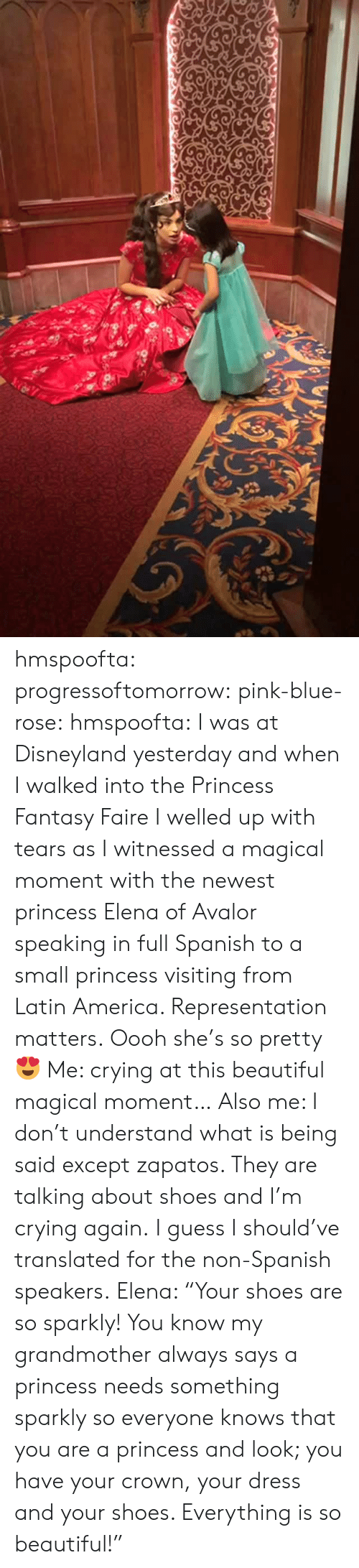 "America, Beautiful, and Crying: hmspoofta: progressoftomorrow:  pink-blue-rose:  hmspoofta:   I was at Disneyland yesterday and when I walked into the Princess Fantasy Faire I welled up with tears as I  witnessed a magical moment with the newest princess Elena of Avalor speaking in full Spanish to a small princess visiting from Latin America.   Representation matters.   Oooh she's so pretty 😍  Me: crying at this beautiful magical moment… Also me: I don't understand what is being said except zapatos. They are talking about shoes and I'm crying again.  I guess I should've translated for the non-Spanish speakers.  Elena: ""Your shoes are so sparkly! You know my grandmother always says a princess needs something sparkly so everyone knows that you are a princess and look; you have your crown, your dress and your shoes. Everything is so beautiful!"""