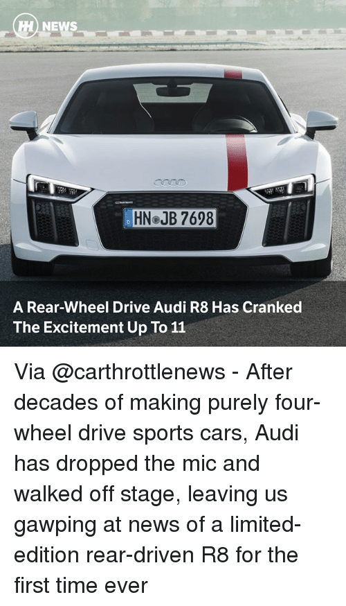 Sportsing: HN JB 7698  A Rear-Wheel Drive Audi R8 Has Cranked  The Excitement Up To 11 Via @carthrottlenews - After decades of making purely four-wheel drive sports cars, Audi has dropped the mic and walked off stage, leaving us gawping at news of a limited-edition rear-driven R8 for the first time ever