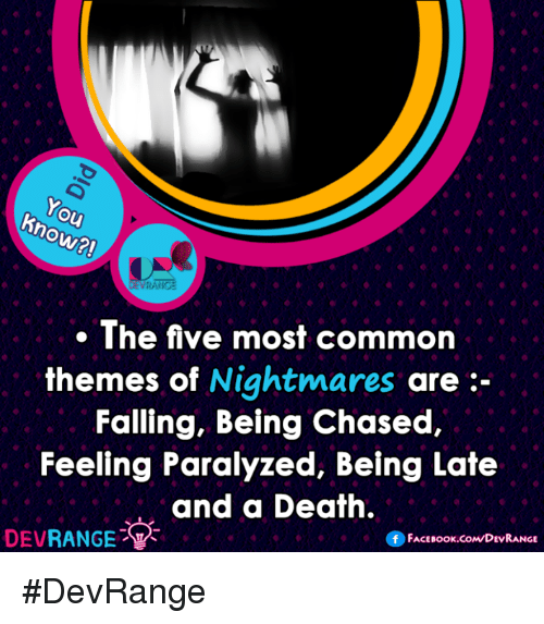 Paralyzation: ho  RANGE  The five most common  themes of  Nightmares  are  Falling, Being Chased,  Feeling Paralyzed, Being Late  and a Death.  DEV  RANGE  FACE Book.coMDEVRANGE #DevRange