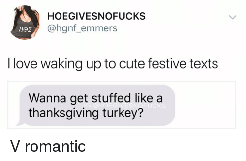 thanksgiving turkey: HOEGIVESNOFUCKS  @hgnf_emmers  I love waking up to cute festive texts  Wanna get stuffed like a  thanksgiving turkey?  UCKS V romantic