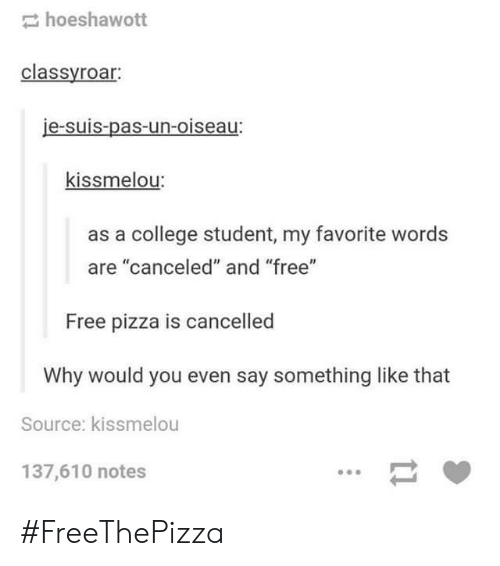 """Suis: hoeshawott  classyroar:  je-suis-pas-un-oiseau:  kissmelou:  as a college student, my favorite words  are """"canceled"""" and """"free""""  Free pizza is cancelled  Why would you even say something like that  Source: kissmelou  137,610 notes #FreeThePizza"""