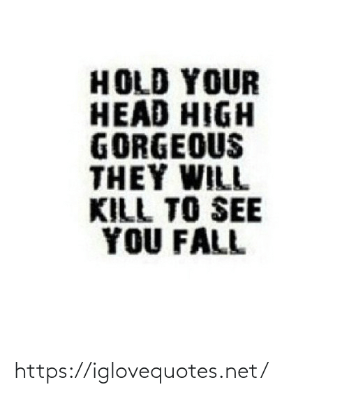 Fall: HOLD YOUR  HEAD HIGH  GORGEOUS  THEY WILL  KILL TO SEE  YOU FALL https://iglovequotes.net/