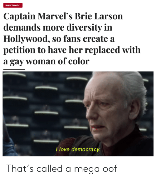 Love Democracy: HOLLYWOOD  Captain Marvel's Brie Larson  demands more diversity in  Hollywood, so fans create a  petition to have her replaced with  a gay woman of color  I love democracy That's called a mega oof