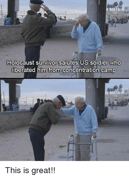 saluteing: Holocaust survivor salutes US soldier who  liberated him from concentration camp This is great!!
