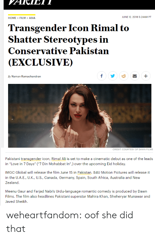 """Pakistani: HOME>FILM>ASIA  JUNE 12,2018 5:24AM PT  Transgender Icon Rimal to  Shatter Stereotypes in  Conservative Pakistan  (EXCLUSIVE)  By Naman Ramachandran   CREDIT: COURTESY OF DAWN FILMS  Pakistani transgender icon, Rimal Ali is set to make a cinematic debut as one of the leads  in """"Love in 7 Days"""" (""""7 Din Mohabbat In"""") over the upcoming Eid holiday.  IMGC Global will release the film June 15 in Pakistan. B4U Motion Pictures will release it  in the U.A.E., U.K., U.S., Canada, Germany, Spain, South Africa, Australia and New  Zealand  Meenu Gaur and Farjad Nabi's Urdu-language romantic comedy is produced by Dawn  Films. The film also headlines Pakistani superstar Mahira Khan, Sheheryar Munawar and  Javed Sheikh. weheartfandom: oof she did that"""