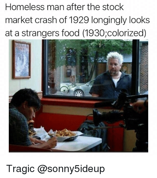 Stock Market: Homeless man after the stock  market crash of 1929 longingly looks  at a strangers food (1930;colorized) Tragic @sonny5ideup
