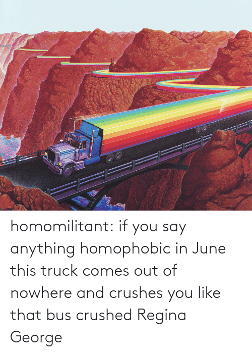 say: homomilitant: if you say anything homophobic in June this truck comes out of nowhere and crushes you like that bus crushed Regina George