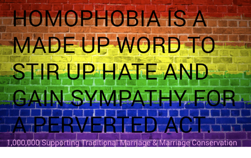 eore: HOMOPHOBIA IS A  MADE UP WORD TO  STIR UP HATE AND  GAIN SYMPATHY EOR  1,000,000 Supporting TraditionatMarriage &TMarriage ervation