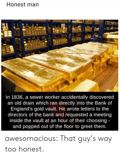 sewer: Honest man  In 1836, a sewer worker accidentally discovered  an old drain which ran directly into the Bank of  England's gold vault. He wrote letters to the  directors of the bank and requested a meeting  inside the vault at an hour of their choosing -  and popped out of the floor to greet them. awesomacious:  That guy's way too honest.