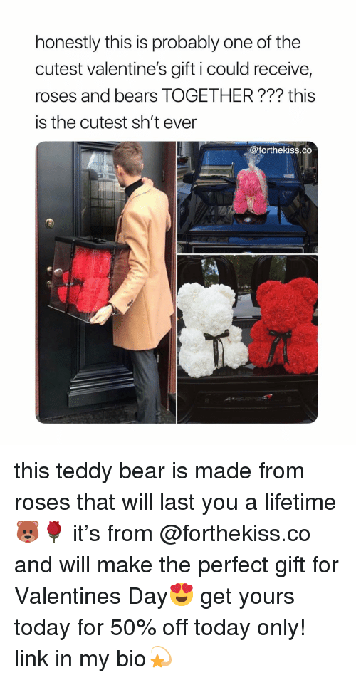 Valentine's Day, Bear, and Bears: honestly this is probably one of the  cutest valentine's gift i could receive,  roses and bears TOGETHER??? this  is the cutest sh't ever  @forthekiss.co this teddy bear is made from roses that will last you a lifetime🐻🌹 it's from @forthekiss.co and will make the perfect gift for Valentines Day😍 get yours today for 50% off today only! link in my bio💫