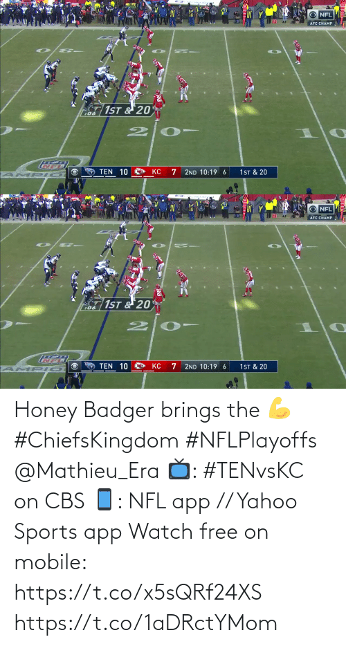yahoo sports: Honey Badger brings the 💪 #ChiefsKingdom #NFLPlayoffs @Mathieu_Era  📺: #TENvsKC on CBS 📱: NFL app // Yahoo Sports app Watch free on mobile: https://t.co/x5sQRf24XS https://t.co/1aDRctYMom