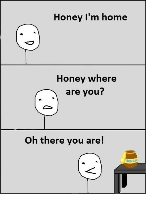 honey-im-home: Honey I'm home  Honey where  are you?  Oh there you are!