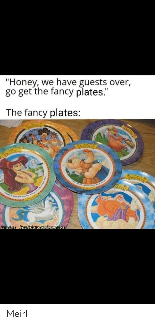 """Guests: """"Honey, we have guests over,  go get the fancy plates.""""  The fancy plates:  RICKLA  Insta: luciddreaminmemes Meirl"""