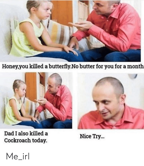 Dad, Butterfly, and Today: Honey.you killed a butterfly.No butter for you for a month  s)  Dad I also killeda  Nice Try...  Cockroach today. Me_irl