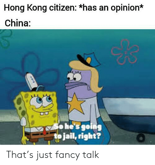 Jail, China, and Fancy: Hong Kong citizen: *has an opinion*  China:  o he's going  to jail, right? That's just fancy talk