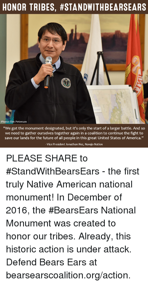 """nativism: HONOR TRIBES, #STANDWITHBEARSEARS  Photo: Tim Peterson  """"We got the monument designated, but it's only the start of a larger battle. And so  we need to gather ourselves together again in a coalition to continue the fight to  save our lands for the future of all people in this great United States of America.""""  Vice President Jonathan Nez, Navajo Nation PLEASE SHARE to #StandWithBearsEars - the first truly Native American national monument!  In December of 2016, the #BearsEars National Monument was created to honor our tribes. Already, this historic action is under attack. Defend Bears Ears at bearsearscoalition.org/action."""
