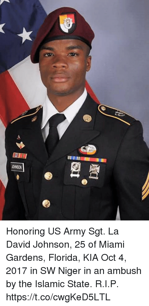 niger: Honoring US Army Sgt. La David Johnson, 25 of Miami Gardens, Florida, KIA Oct 4, 2017 in SW Niger in an ambush by the Islamic State. R.I.P. https://t.co/cwgKeD5LTL