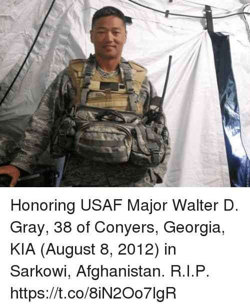 Memes, Afghanistan, and Georgia: Honoring USAF Major Walter D. Gray, 38 of Conyers, Georgia, KIA (August 8, 2012) in Sarkowi, Afghanistan. R.I.P. https://t.co/8iN2Oo7lgR