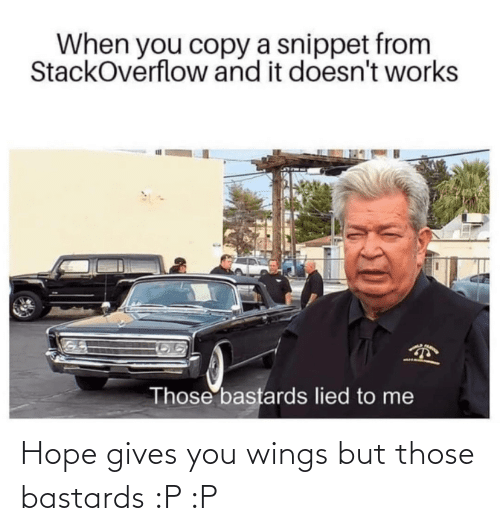 Gives: Hope gives you wings but those bastards :P :P