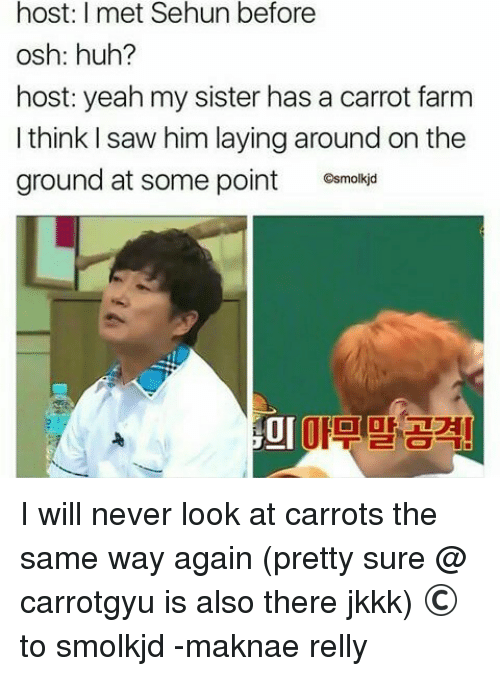 Maknae: host: I met Sehun before  osh: huh?  host: yeah my sister has a carrot farm  I think I saw him laying around on the  ground at some point C  Gsmolkjd  미마고계 I will never look at carrots the same way again (pretty sure @ carrotgyu is also there jkkk)  © to smolkjd  -maknae relly