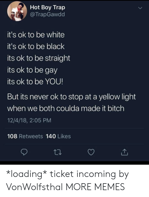 Hot Boy: Hot Boy Trap  @TrapGawdd  it's ok to be white  it's ok to be black  its ok to be straight  its ok to be gay  its ok to be YOU!  But its never ok to stop at a yellow light  when we both coulda made it bitch  12/4/18, 2:05 PM  108 Retweets 140 Likes *loading* ticket incoming by VonWolfsthal MORE MEMES